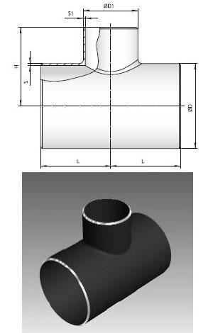 Тройник стальной сварной без накладок ТУ 51-29-81