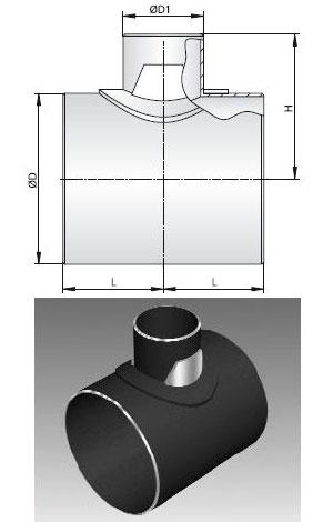 Тройник стальной сварной с накладками ТУ 102-488-95