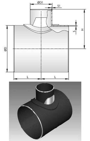 Тройник стальной сварной с накладками ТУ 51-29-81